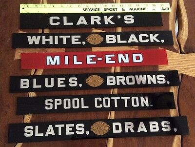 "Remade Clarks 6 Drawer Spool Cabinet Glass Name Plates 16 3/4"" & 18 1/2"" Wide"