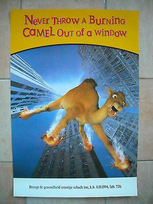 "Camel poster - ""Never throw a burning Camel out of a window"""