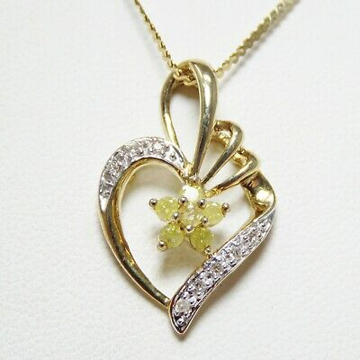 NYJEWEL 14k Solid Gold New Italy Floral Heart Yellow Diamond Necklace