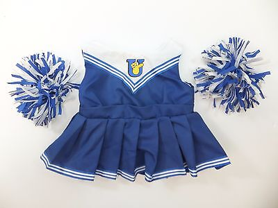 Blue Cheer Leader with Pom Poms 3 Piece Outfit Build A Bear
