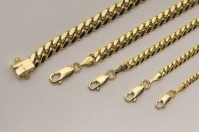 "Solid 10K Yellow Gold Miami Cuban link Necklace Chain 2mm-6mm Sz 20""-36"""