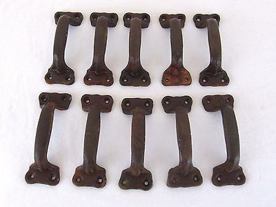 """10 Cast Iron Gate Pulls Door Drawer Shed Pull Handle Brown Rust Finish 5 1/2"""""""