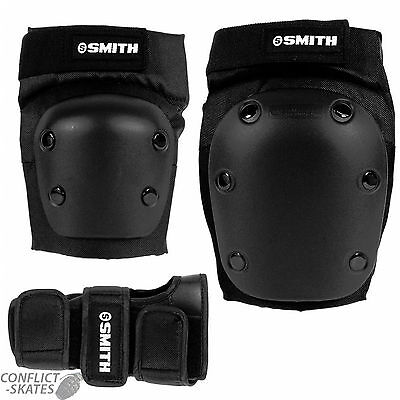 "SMITH ""Adult Combo Pack"" Knee Elbow Wrist Pads Roller Derby Skateboard S M L XL"