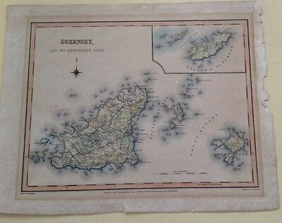 Antique print of steel engraved map of Guernsey & dependent Isles
