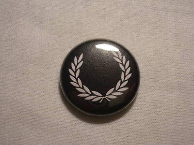 "Black Fred Perry Wreath 1"" Button Pin Badge Skinhead"