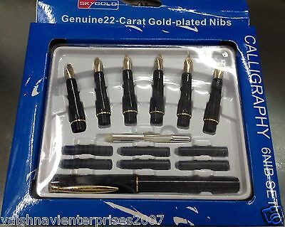 Calligraphy Pen Set 6 Nibs And Cartridges 22 Carat Gold Plated Gift New Genuine