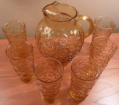 Vintage unused Anchor Hocking golden LIDO ball pitcher and 6 tumblers drink set