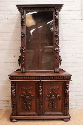 Antique French Renaissance Bookcase Display Cabinet Carved Cherubs and More