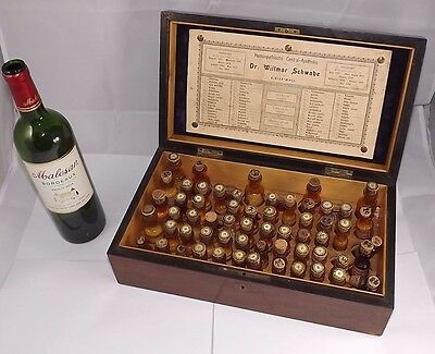 19TH CENTURY APOTHECARY MEDICAL WOOD BOX - DOCTOR - HOMEOPATHIC w/CONTENTS