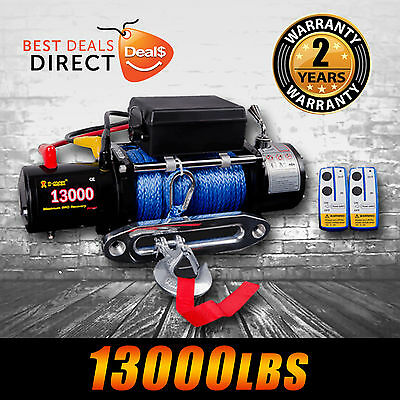 NEW 12V 13000LBS/5897KGS Wireless Synthetic Rope Electric Winch 4WD BOAT TRUCK