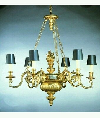 1972 Chapman Williamsburg 6 Arm Chandelier Solid Brass New 3800.00