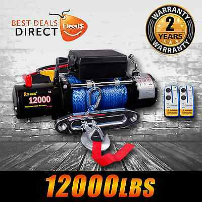 NEW I-Max 12V 12000LBS/5454KGS Wireless Electric Winch Synthetic Rope 4WD Boat