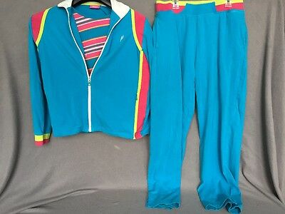 Vtg 80s Neon Track Jogging Suit Jacket Shirt Pants Petite Large Pink Blue Yellow