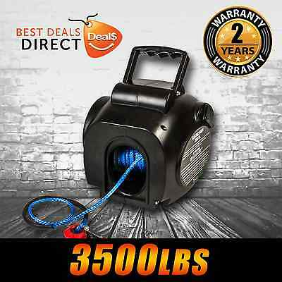 New I-MAX 12V 3500LBS Portable Electric Synthetic Boat Winch Trailer 4WD ATV 4x4
