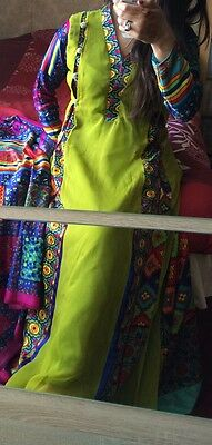 Lime Long 3 Piece Outfit Dress ( Traditional Asian Clothes) Size 8 S