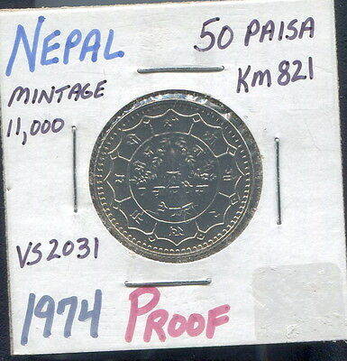 Nepal - Fantastic Rare Proof 50 Paisa, Vs 2031 (1974)