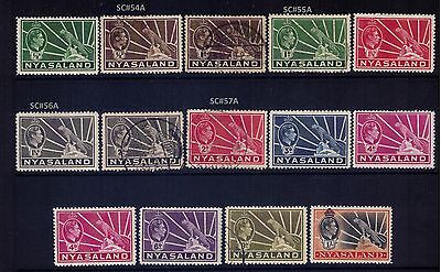 Nyasaland Protectorate SC#54/62 MH and Used Cat.$25