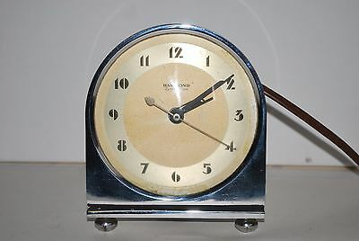 Vintage Hammond Synchronous Alarm Clock 1940's Art Deco Works As-Is