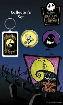 NIGHTMARE BEFORE CHRISTMAS COLLECTOR SET Keychain+2 x Badges+Patch NEW MERCH
