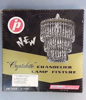 Unique Vintage Crystalette Chandelier Lamp Fixture 3 Tier acrylic prism original