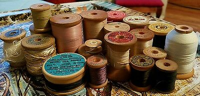 Lot 59 Vintage Thread Wood Wooden Spools Silk Suture Dental Intrinsic Coats Dyno
