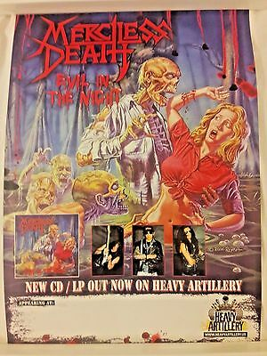Merciless Death Evil In The Night RARE PROM Poster* Toxic Holocaust Megadeth 666