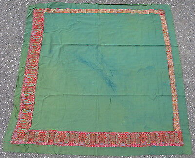 Antique French textile paisley shawl jacquard loom wool green 4.5x4.6 #8703