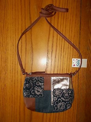 Girls Justice Brand Small Brown & Denim Purse With Shoulder Strap NWT