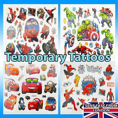 Temporary Tattoos Spider-Man Marvel Avengers Disney Pony Thomas Peppa pig ❤️