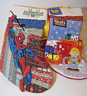 Bob the Builder & Spiderman Christmas Stockings Embroidered Holiday Stuffers