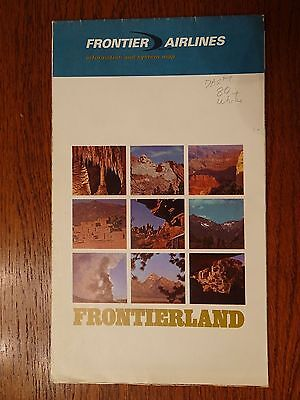 Frontier Airlines Information & System Map 1969 Frontierland Ralph Williams
