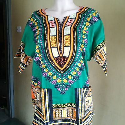 African Print Dashiki Shirt (Unisex) END OF SUMMER SALE!! - Medium Orange