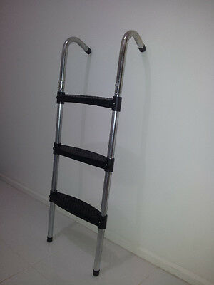 3-Step Trampoline Safety  Ladder 100x36cm Heavy Duty Frame * Black