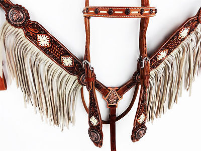 Rawhide Leather Navajo Western Horse Bridle And Breastplate Set