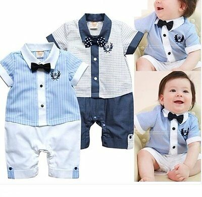 Baby Boy Wedding Christening Tuxedo Formal White Suit Outfit Clothes Romper