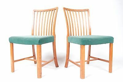 2 Vintage Oak Dining Chairs Swedish Butterfly Retro Deco Modern Pair 1940s