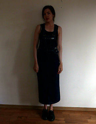 Vintage 1980s 90s grunge LEE jeans denim dungaree overall pencil dress XS-S 8