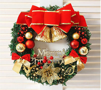 Christmas Wreath Door Wall Ornaments Garland Red Bowknot Decoration Large 30cm