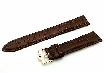 Genuine Leather Strap/Band for Omega Watch Brown YLW Gold Buckle 18mm 19mm 20mm