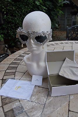 Jeremy Scott Linda Farrow Silver Antique Flourish Sunglasses Pearl Drop BNWB