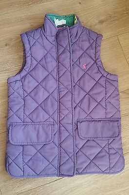 Girls Joules Gilet Age 7 Years Purple Body Warmer quilted