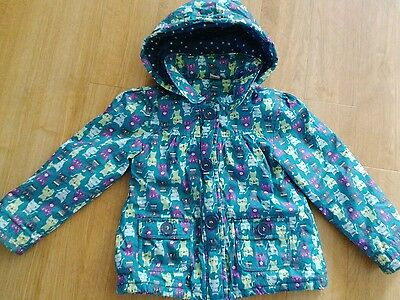 Girls blue fleece lined water repellent cat design hooded coat 4-5 years 110cm