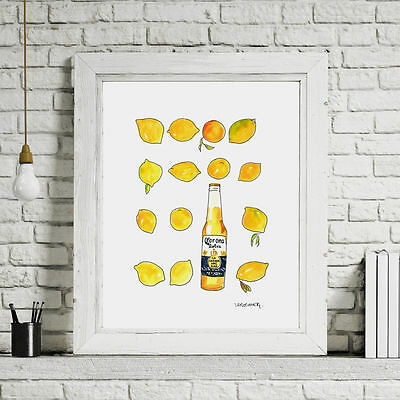 *** Original *** Watercolour Painting, Corona Extra Beer Bottle Gift A4 Wall Art