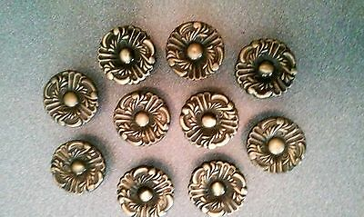 Lot of 10 Floral Metal Drawer Pulls Knobs Drawer Desk Cabinet Hardware VGUC