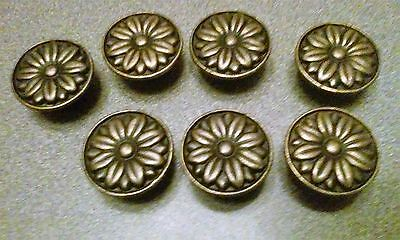 Lot of 7 Floral Metal Goldtone Drawer Pulls Knobs Desk Cabinet Hardware NEW