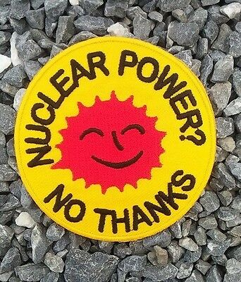 New Aufnäher Bügelbild Iron on Patches Nuclear Power No thanks smiling sun