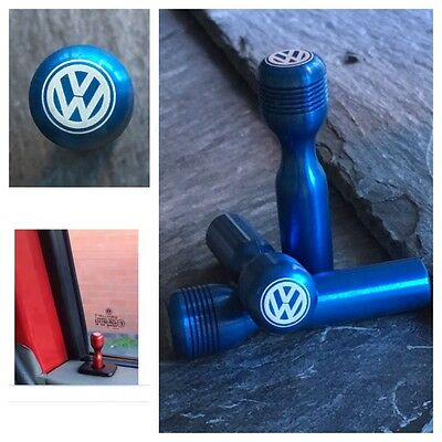 T4 VW Blue Door Lock Pull Pins Laser Engraved Precision Machined Aluminium