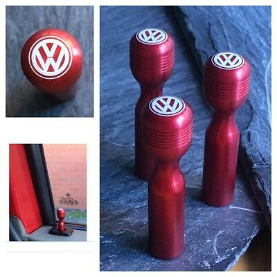 T4 VW Red Door Lock Pull Pins Laser Engraved Precision Machined Aluminium