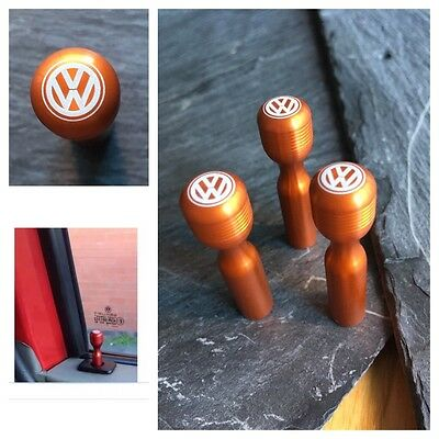 T4 VW Orange Door Lock Pull Pins Laser Engraved Precision Machined Aluminium