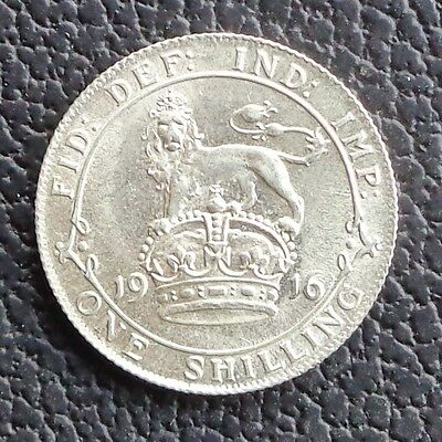 1916 George V Sterling Silver Shilling Lustrous Unc Ref 292